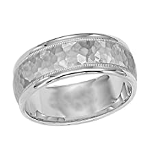 buy 8 Mm Round Comfort Fit Palladium 950 Wedding Band With Satin Hammered Finish And Milgrain