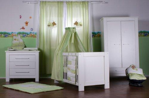 Babyzimmer Enni In Weiss Und Bettset Sleeping Bear Grün