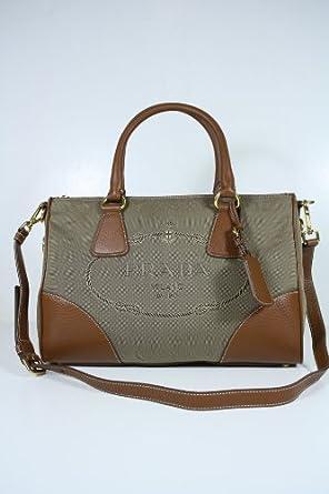 Prada Handbags Beige Brown Fabric and Brown Leather BL0833
