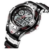 PASNEW High Quality Water-proof Dual Time Unisex Teens Sport Watch Black+Red