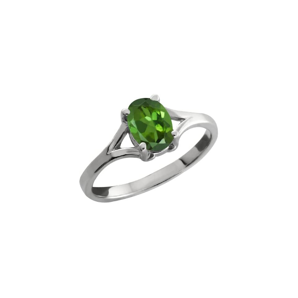 0.85 Ct Oval Green Tourmaline 18k White Gold Ring