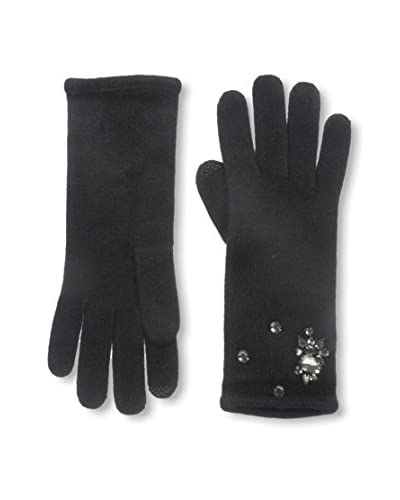 Portolano Women's Glove with Faux Gems, Black