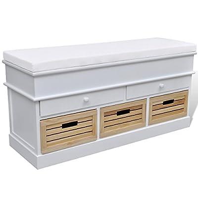 Schrank Sitzbank Truhenbank 2 Schubladen + 3 Kisten von vidaXL - Gartenmöbel von Du und Dein Garten