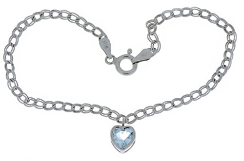 1 Ct Genuine Aquamarine Heart Bezel Bracelet .925 Sterling Silver Rhodium Finish