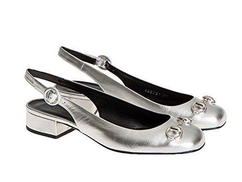 Sandali aperti dietro Gucci in pelle laminato argento - Codice modello: 408281 B8B00 8106 - Taglia: 41 IT