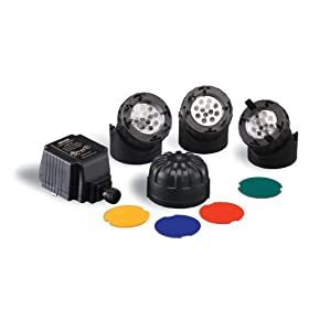 Sunterra 300309 Submersible Light Kit for Water Gardens, Three Lights with Transformer, Black