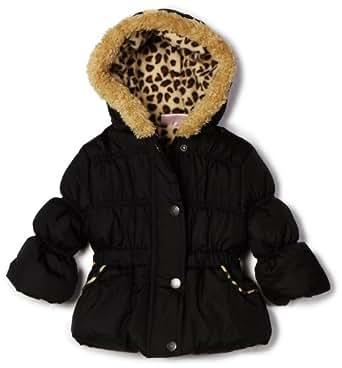 Pink Platinum Girls Toddlers Hooded Leopard Trim Puffer Jacket - Black (Size 4T)