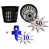 50 pack - 3 inch Round HEAVY DUTY Net Cups Pots WIDE LIP Design - Orchids • Aquaponics • Aquaculture • Hydroponics Slotted Mesh + FREE Micro Sprayers!! by Cz Garden Supply