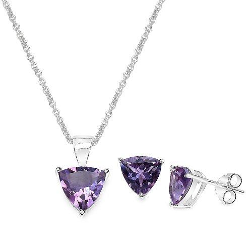 4.50 Carat Amethyst Triangle Shape .925 Sterling Silver Earring & Pendant Set