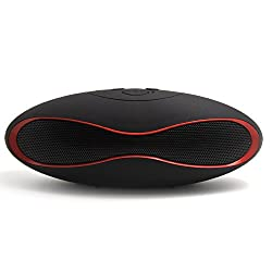 Fengfanglin Black with Red Line Mini X6 Wireless Bluetooth Speaker Portable Rugby Music Sound Box TF/AUX/USB with Built-in Microphone With Retail Packaging