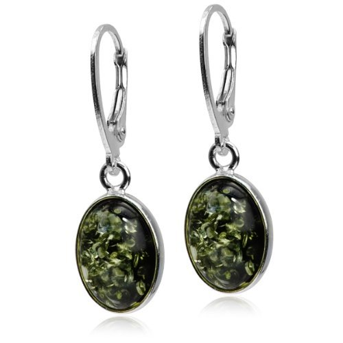 Baltic Green Amber Sterling Silver Classic Earrings