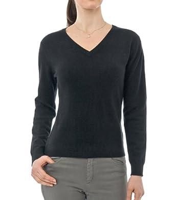 Wool Overs Women's Cashmere & Merino V Neck Jumper Black Small