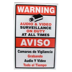 "InstallerParts Surveillance Warning Sign English/Spanish Red 11.5""x18"""