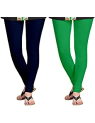 Aannie Women's Cotton Slim Fit Leggings Combo Pack Of 2(Navy Blue,Grass Green)