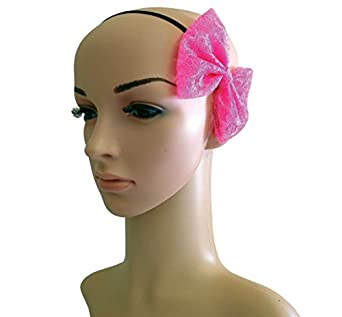 Neon Pink Lace 80's Vintage Hen Night Party Emo Hair Bow Head Band