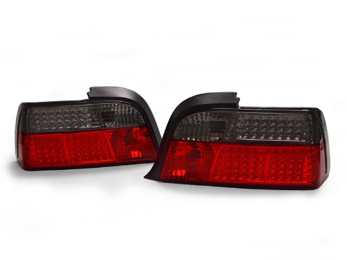 A Pair Of Depo Red And Smoke Lense Full Led Tail Lights - Bmw 3-Series E36 2Dr 1992-1999