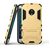 Yes2Good Graphic Designed Kick Stand Version 3.0 Hard Dual Rugged Armor Hybrid Bumper Back Case Cover For Motorola Moto G5 Plus - Gold
