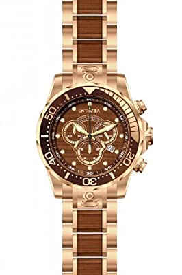 Invicta Men's 13791 Pro Diver Chronograph Brown Dial Rose Gold-Tone Watch