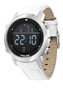 Police - P12898JS-02A - Montre Homme - Quartz - Digitale - Alarme - Bracelet Cuir Blanc