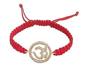 Om Bracelet in 14K Gold 18mm size studded with diamonds on adjustable nylon r...