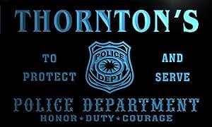 tk1354-b THORNTON's Police DEPT Department Badge Policemen Bar Beer Neon Light Sign