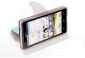 Dolextech qulity mofi Huawei Ascend G700 téléphone PU etui Housse coque de stand (Pour Huawei Ascend G700, bleu)