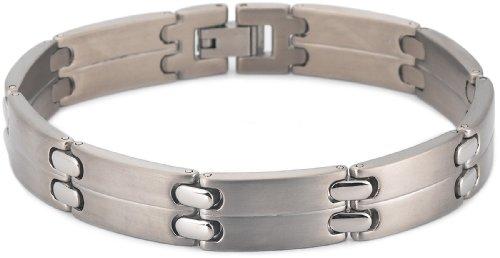 Brushed and Polished Titanium 11mm Bracelet, 8″