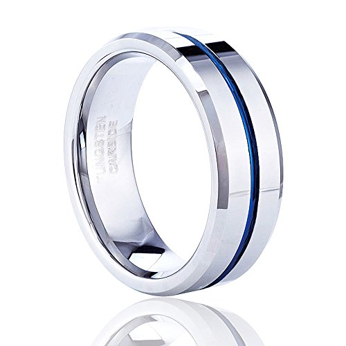 Tusen Jewelry Thin Blue Line Tungsten Carbide Ring wedding band
