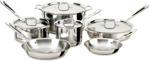 All-Clad 600822 SS Copper Core 5-Ply Bonded Dishwasher Safe Cookware Set, 10-Piece, Silver (Cookware All Clad Copper Core compare prices)