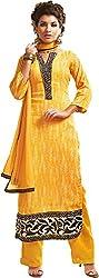 Sinina Women's Cotton Unstitched Dress Material (SKMannat647_Yellow_Free Size)