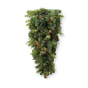 lit Teardrop Christmas Swag - Multi, 3' - Frontgate Christmas Decor
