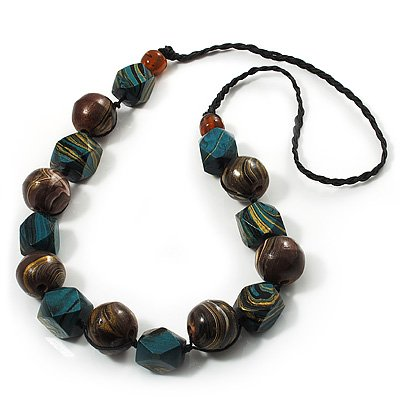 Chunky Wood Bead Cotton Cord Necklace (Brown & Green) - 78cm Length