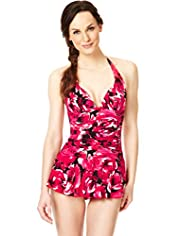 Halterneck Ruched Floral Skirt Swimsuit