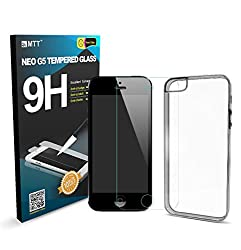 MTT Tempered Glass Screen Protector Guard for Apple iPhone 5 5C 5S (COMBO)