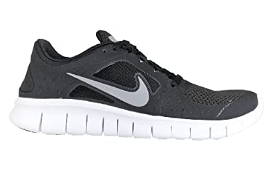 Nike Kids Free Run 3 (GS) Black/Rflct Slvr/White/Wlf Gry Running Shoe 4 Kids US