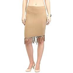 RARE Beige Pencil Knee Length Skirts for Women