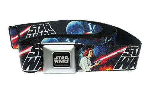 "Star Wars Seatbelt Buckle Belt - Classic Movie Montage Logo (One Size 24""-38"")"