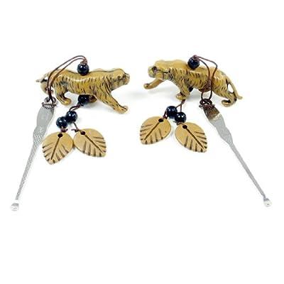 2 Pcs Portable Brown Tiger Pendant Silver Tone Ear Pick Earwax Removal