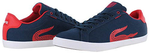Lacoste Men's Grad Vulc TSPP Fashion Sneaker, Dark Blue/Red, 7.5 M US