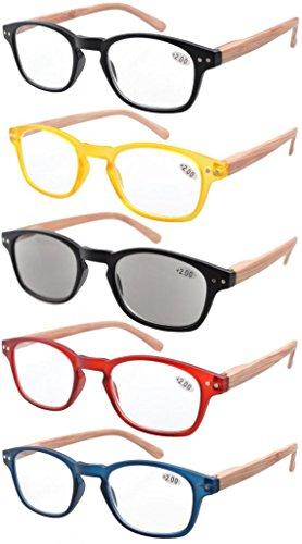 eyekepper-lot-de-5-lunettes-de-vue-de-lecture-de-differentes-couleurs-branches-grain-de-bois-imprime