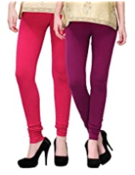 2Day Women's Cotton Churidaar Legging Wine/Fushia (Pack Of 2)