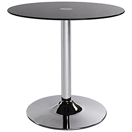 Mesa redonda VINYL metal y vidrio templado (negro)