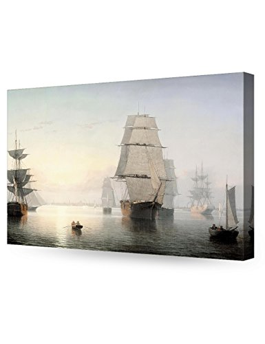 DecorArts -Boston Harbor, Sunset, Fitz Henry Lane Classic Art Reproductions. Giclee Canvas Prints Wall Art for Home Decor 30x20