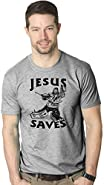 Jesus Saves Hockey Goal T Shirt Funny Religious Sport Tee