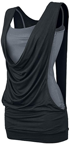 Forplay Open Double Layer Top donna nero/grigio XL