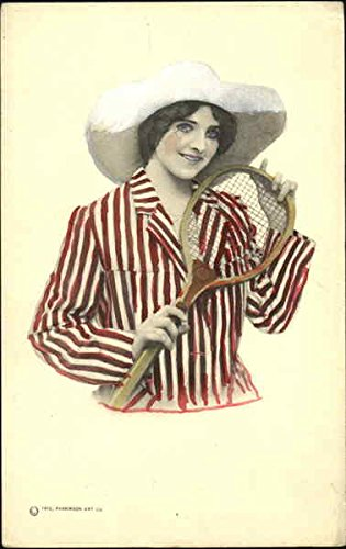 pretty-woman-with-tennis-racket-original-vintage-postcard