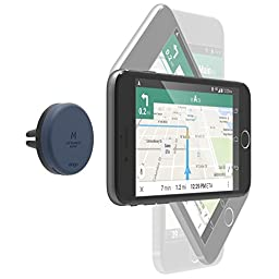 elago® Magnetic Car Mount [Jean Indigo] - [Frustration-Free Install][Compatible with Most Air Vents][Two Large Plates Included] - for all Smartphones