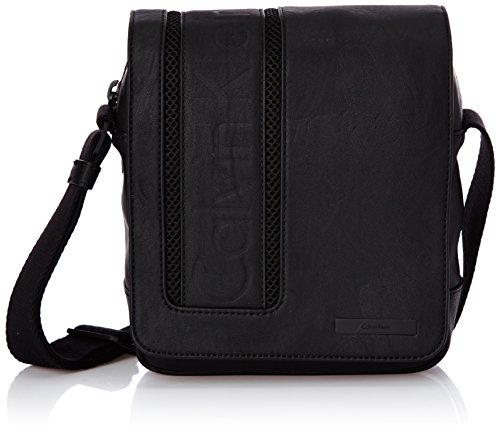 Calvin Klein Jeans ASHER REPORTER WITH FLAP, Borsa a tracolla uomo, Nero (Nero (black 990)), 19x22x7 cm (B x H x T)