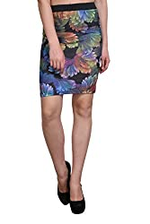 Shararat Women's Pencil Knee length Multicolor Crepe Skirt (36, Multi)