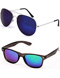 SHEOMY SUNGLASSES COMBO - SILVER BLUE MERCURY AVIATOR SUNGLASSES AND WAYFARER BLUE MERCURY SUNGLASSES WITH 2 BOXES...
